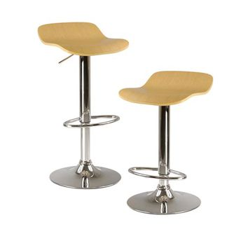 Winsome Wood 93889 Kallie Natural Air Lift Adjustable Stool with Veneer Top and Metal Base, Set of Two