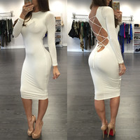 White Long Sleeves Strappy Cutout Back Bodycon  Dress