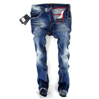 Denim Blue Cotton Slim Plus Size Men Jeans [6528575811]