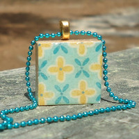 Blue and Yellow Flowers Scrabble Style Pendant