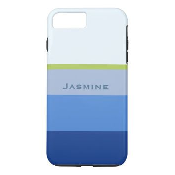 Cool blue nautical stripes personalize name iPhone 7 plus case