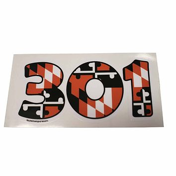 """301"" Baltimore Baseball Black & Orange Maryland Flag / Sticker"