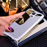 Coque S5Mini Luxury Clear Plating PC Soft Silicon TPU Mirror Case For Samsung Galaxy S5 Mini G800 Gold Compact Cases Covers