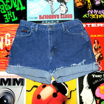 High Waisted Denim Shorts - Vintage 90s Dark Stone Washed LEE Jean Shorts - Cut Off, Frayed, Rolled Up, Cuffed, Size 12 Large L
