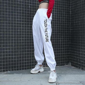 Women Casual Fashion Letter Print High Waist Leisure Pants Trousers Sweatpants