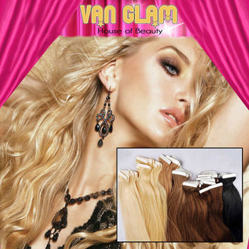 "22"" Golden Goddess Natural Wave Tape In, 100% Remy Human Hair Extensions"