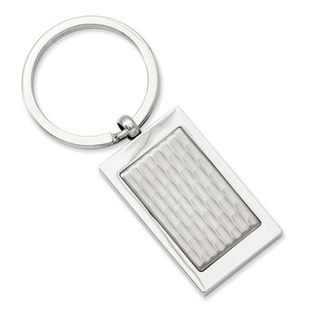 Men's Stainless Steel Polished and Textured Key Ring
