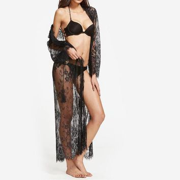 Black Sheer Floral Lace Maxi Kimono Woman's Fashion Summer Sexy Tops Long Sleeve Belted Long Kimono