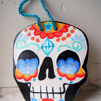 Mexican Folk Art Ornament. Sugar Skull Day of the Dead Hanging Decoration. Painted Skull trinket gift.  Dia de los Muertos Party clay art