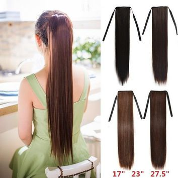 "17"" 23"" 27.5"" Women's Wig Matte Silk Long Straight Hair Ponytails Girls Seamless Hair Extension"
