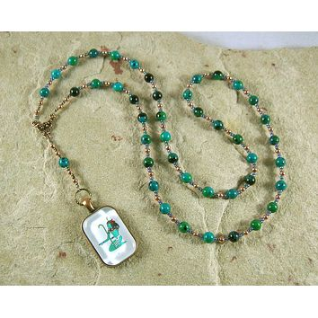 Nun (Nu) Prayer Bead Necklace in Chrysocolla: Egyptian God of the Primordial Abyss