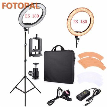"Fotopal LED Ring Light For Camera Photo/Studio/Phone/Video 12""55W 5500K Photography Dimmable Ring Lamp with Plastic Tripod Stand"