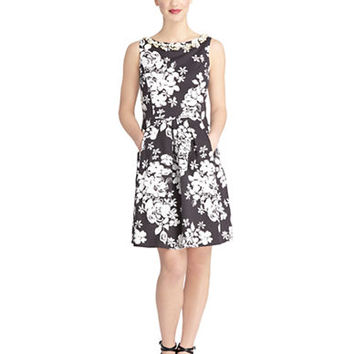 Tahari Arthur S. Levine Embellished Floral Faille Fit and Flare Dress