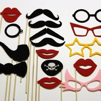 Photo Booth Props Mustache On A Stick Fun Wedding Birthday Party Favors 16 Piece Set -Includes Lips , Colored Glasses , Pirate Eye Patch, Bow Tie and Pipe