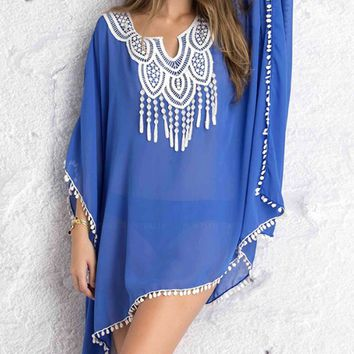Streetstyle  Casual Pompom-Trim Decorative Lace See-Through Tunic