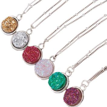 Drusy Druzy Resin Cabochon Round Pendant Necklace