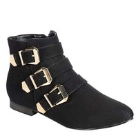 Breckelles Astro-11 Buckle Detailed Ankle Booties in Black @ yabshop.com