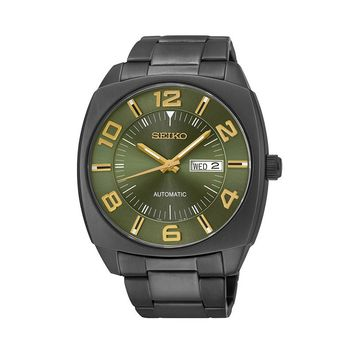 Seiko Men's Recraft Black Ion-Plated Stainless Steel Automatic Watch - SNKN35
