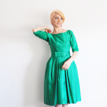 emerald green 1950 hostess dress . mid century cocktail party .small