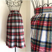 High Waisted Wool Checkered Skirt // Plaid A Line Skirt Sz M