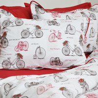 Old Bicycle Dorm Bedding Set in Sepia Brown and Burgundy Red for Twin or Twin XL – 4pcs Set of Duvet Cover, Flat Sheet, Shams & Pillow Cases