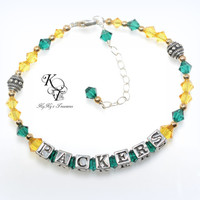 Packers Bracelet, Greenbay Packers, Packers Jewelry, Football Jewelry, Sports Team Jewelry, Football Bracelet, Packers Jewelry, Gift for Her