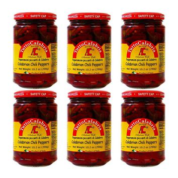 6 Pack Tutto Calabria Hot Long Chili Peppers, 10.2 oz (290 g)