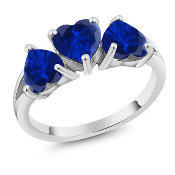 2.40 Ct Heart Shape Blue Simulated Sapphire 925 Sterling Silver Ring