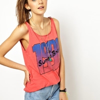 "Pink ""1990"" Print Sleeveless Top"