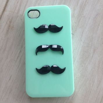 READy to ship mint green iphone 4 case with 3 crystal cut mustaches / mustache iphone case / iphone 4 / USA seller