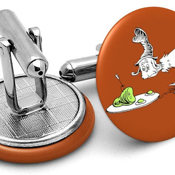 Dr Seuss Green Eggs Ham Cufflinks