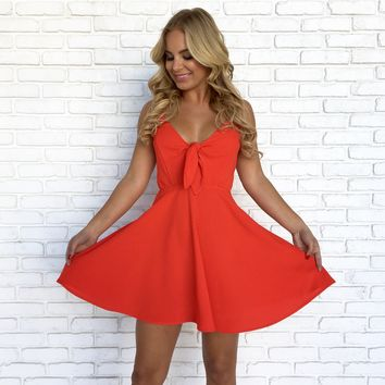 Twist & Tango Skater Dress in Fire Red