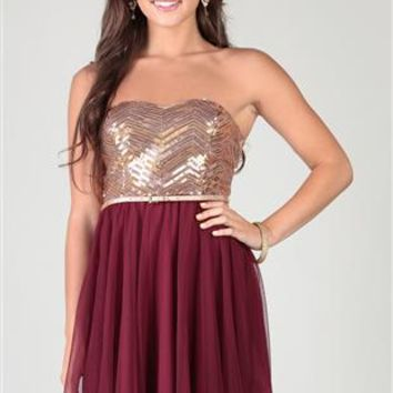 chevron sequin strapless dress with skinny belt and circle skirt
