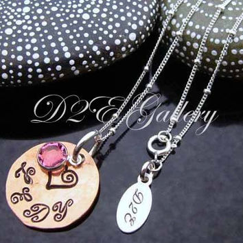 D2E hand stamped personalized lucky penny necklace with Swarovski Crystal charm on sterling silver chain