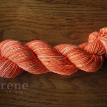 SUMMER SOLSTICE - Angora Merino Fingering Weight Luxury Yarn - Light Weight Super Soft Bright Tonal Neon Orange Yarn - 219 Yds