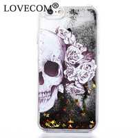 I5 I6 Case! Hot Skull Black Glitter Stars Dynamic Liquid Quicksand Phone Back Hard Cover Phone Case For Samsung S5/S6/S7/S7Edge