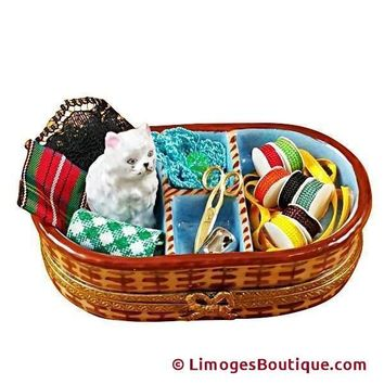 SEWING BASKET WITH CAT LIMOGES BOX