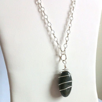 River Rock Necklace Black River Stone Sterling Silver Wrapped Pendant Necklace Boho Jewelry Gypsy Necklace Nature Necklace Made in Canada