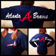 Atlanta Braves Oversized Text Comfort Colors Long Sleeve T-Shirt with Tomahawk Monogram