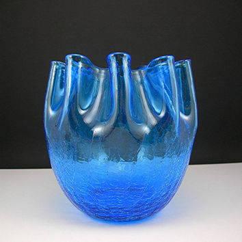 "Hand-blown Blue Crackle Glass Vase, Art Glass, Vintage circa 1960s, Pinched Top, Rough Pontil, Rose Bowl, 5-1/2"" Tall, Likely Bischoff"