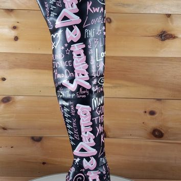 CR Black Pink Destroy Graffiti Graphic Print High Heel Thigh Boot Size 5.5 - 6.5