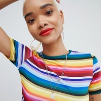PrettyLittleThing Rainbow Crop Top at asos.com