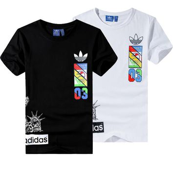 """""""Adidas"""" Unisex Fashion Casual Multicolor Clover Letter Pattern Print Short Sleeve T-s"""