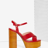 Jeffrey Campbell Geri Leather Platform - Red