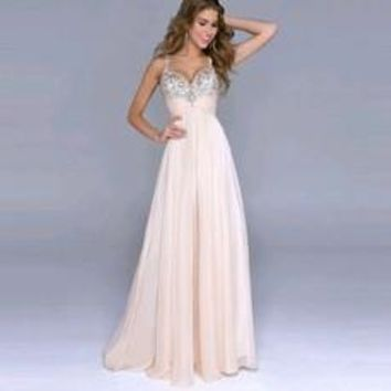 2016  Women Deep V-Neck  Sexy Strapless with Sequined Decoration  Backless Floor-Length Dress Pink Color [7956676935]