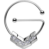 Clear Gem Stainless Steel Barbell Chevron Universal Nipple Ring | Body Candy Body Jewelry