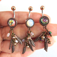 Dichroic Glass Rainbow Belly Button Ring Feather Leaf Charm Dangle Jewelry Navel Piercing Long Charm Bellyring Bar