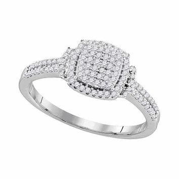 10kt White Gold Womens Round Diamond Square Cluster Bridal Wedding Engagement Ring 1-3 Cttw