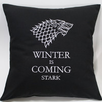 Winter is Coming - Game of Thrones inspired Embroidered Pillow Case Cover