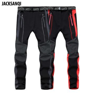 JACKSANQI Men Women's Winter Fleece Softshell Pants Outdoor Sports Thermal Warm Hiking Camping Skiing Male Female Trousers RA042